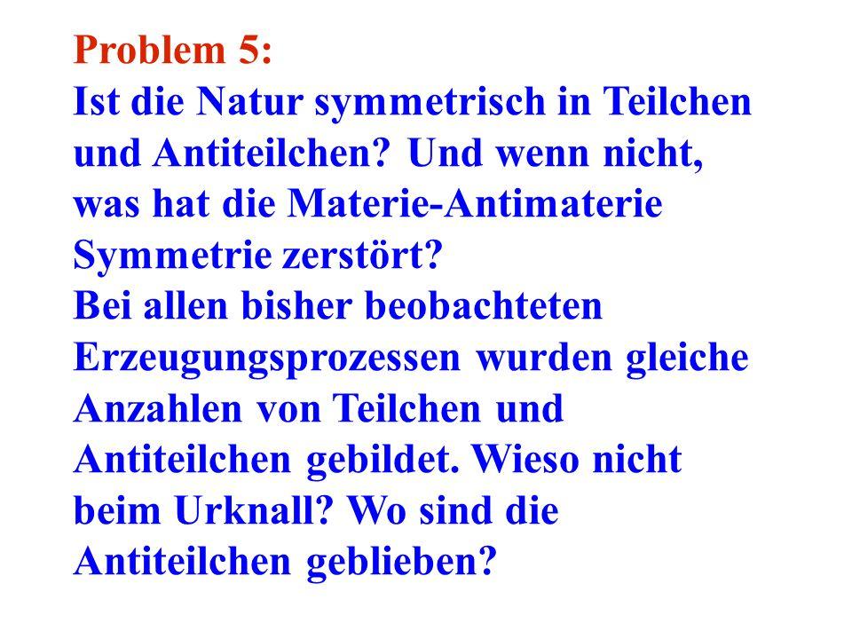 Problem 5: Ist die Natur symmetrisch in Teilchen und Antiteilchen Und wenn nicht, was hat die Materie-Antimaterie Symmetrie zerstört