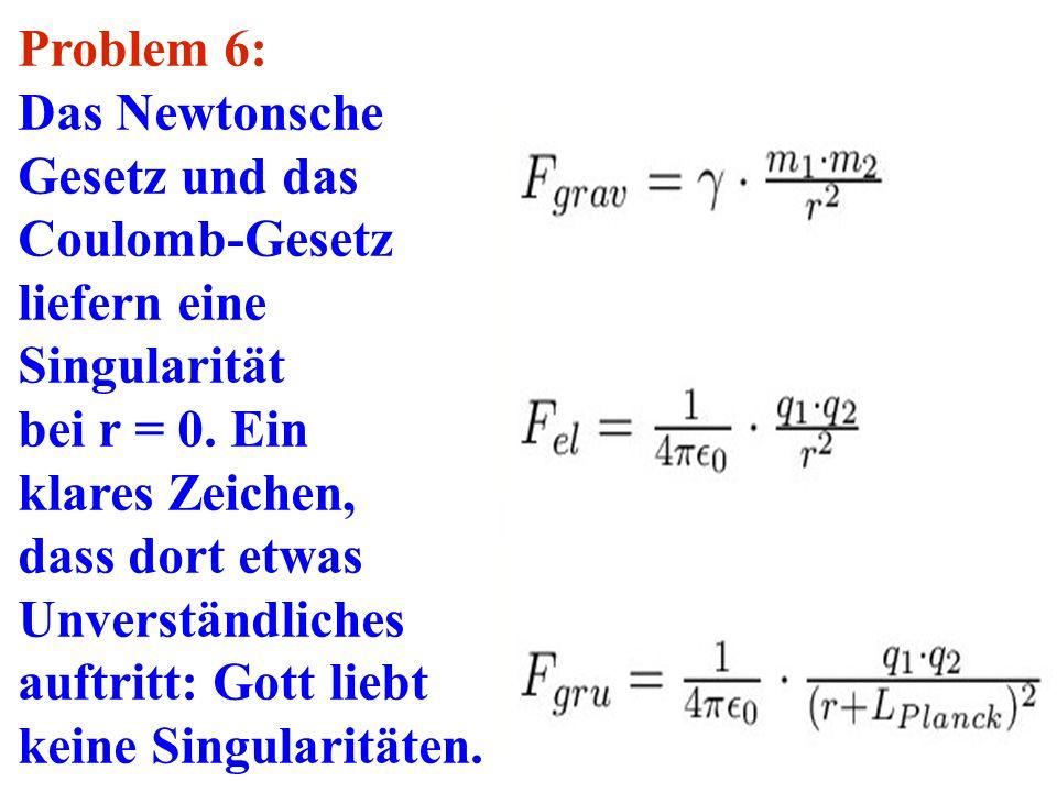 Problem 6: Das Newtonsche. Gesetz und das. Coulomb-Gesetz. liefern eine. Singularität. bei r = 0. Ein.