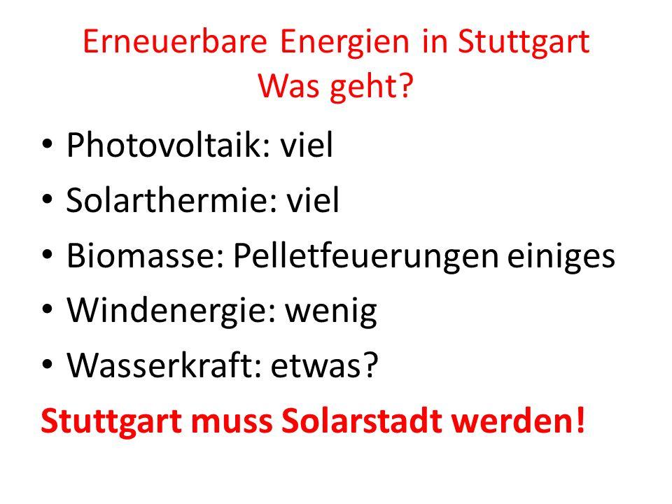 Erneuerbare Energien in Stuttgart Was geht