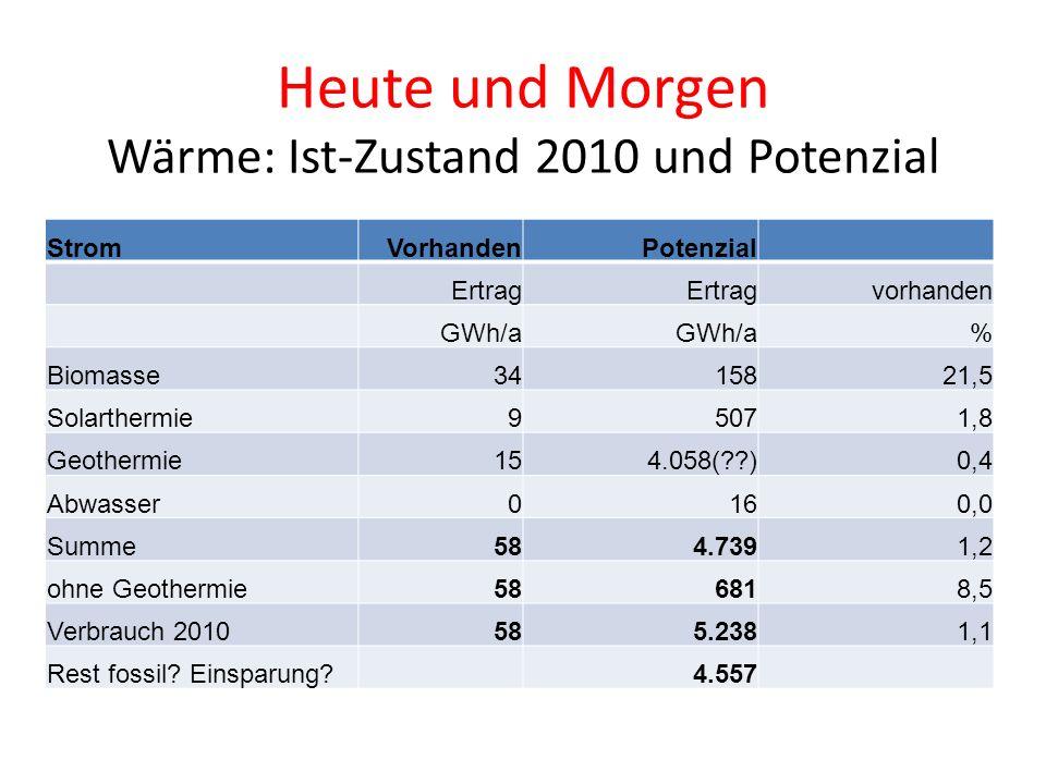 Heute und Morgen Wärme: Ist-Zustand 2010 und Potenzial