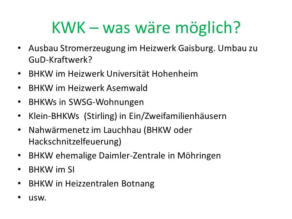 KWK – was wäre möglich Ausbau Stromerzeugung im Heizwerk Gaisburg. Umbau zu GuD-Kraftwerk BHKW im Heizwerk Universität Hohenheim.