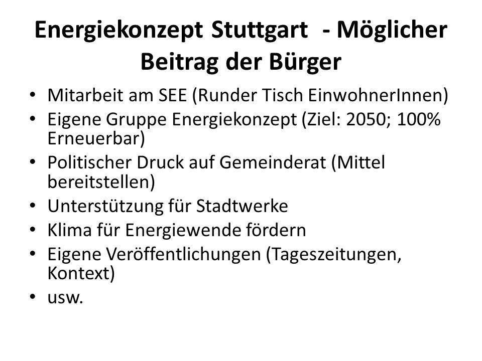 Energiekonzept Stuttgart - Möglicher Beitrag der Bürger