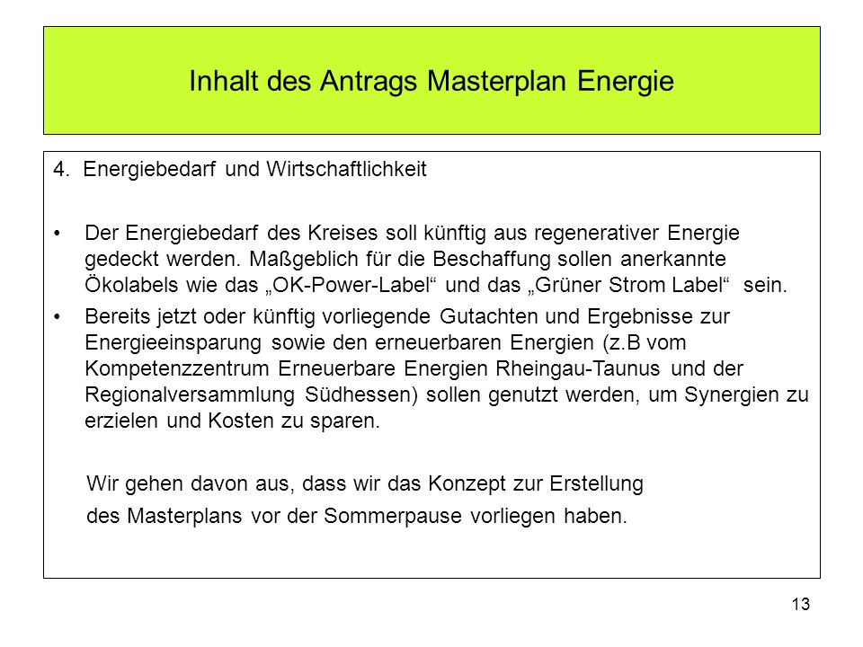 Inhalt des Antrags Masterplan Energie