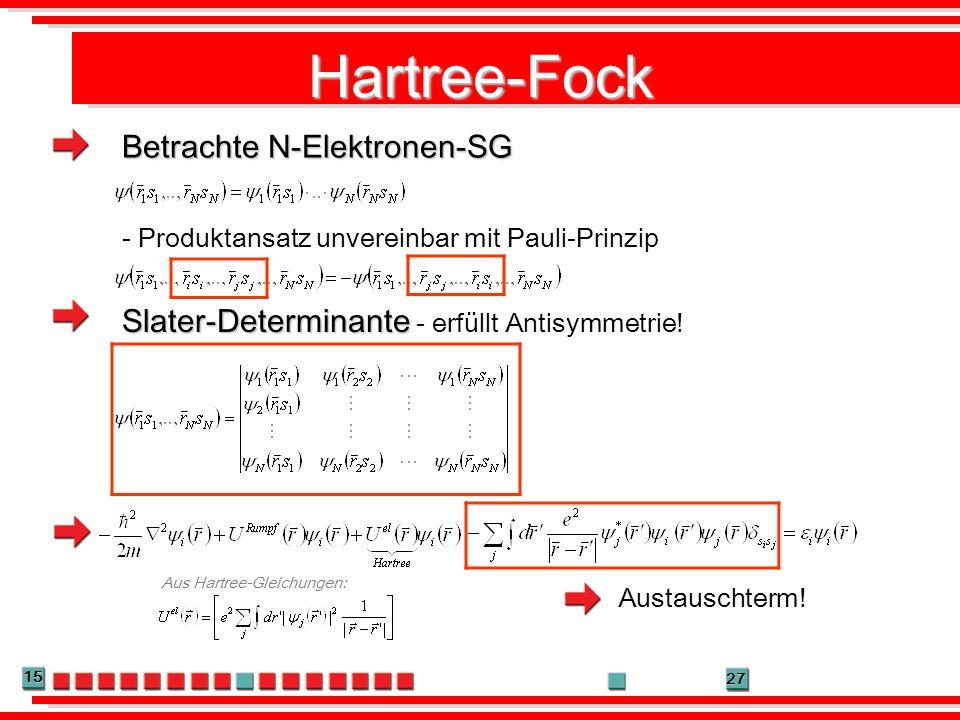 Hartree-Fock Betrachte N-Elektronen-SG