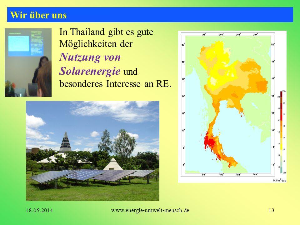 Wir über uns In Thailand gibt es gute Möglichkeiten der Nutzung von Solarenergie und besonderes Interesse an RE.