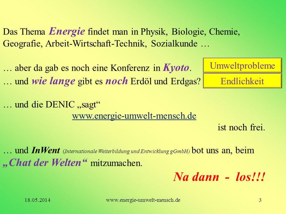 Das Thema Energie findet man in Physik, Biologie, Chemie, Geografie, Arbeit-Wirtschaft-Technik, Sozialkunde …