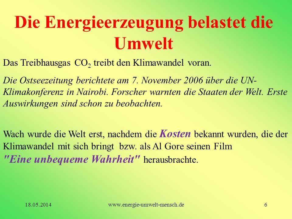 Die Energieerzeugung belastet die Umwelt