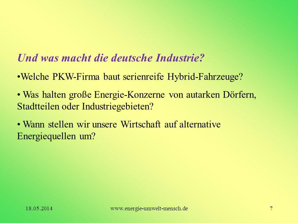 Und was macht die deutsche Industrie