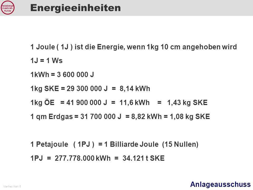 Energieeinheiten 1 Joule ( 1J ) ist die Energie, wenn 1kg 10 cm angehoben wird. 1J = 1 Ws. 1kWh = 3 600 000 J.