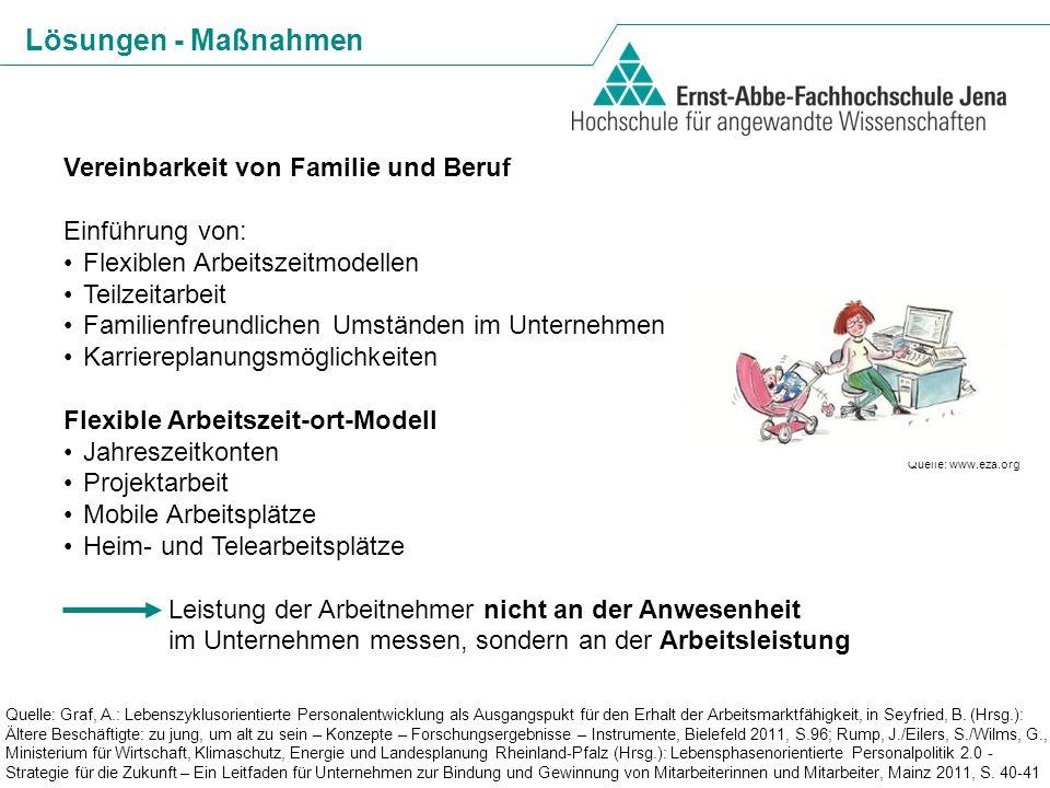 Lösungen - Maßnahmen Vereinbarkeit von Familie und Beruf