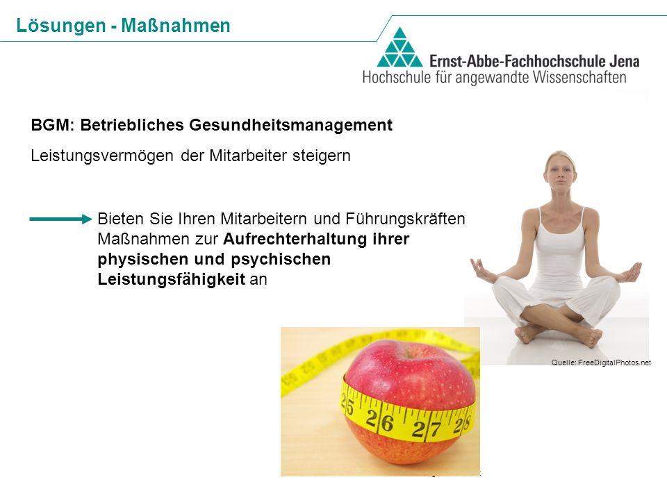 Lösungen - Maßnahmen BGM: Betriebliches Gesundheitsmanagement