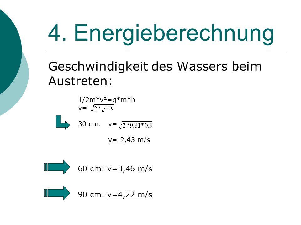 4. Energieberechnung Geschwindigkeit des Wassers beim Austreten: