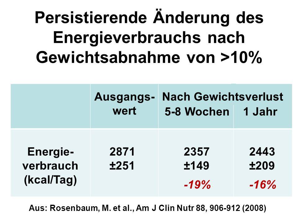 Persistierende Änderung des Energieverbrauchs nach Gewichtsabnahme von >10%