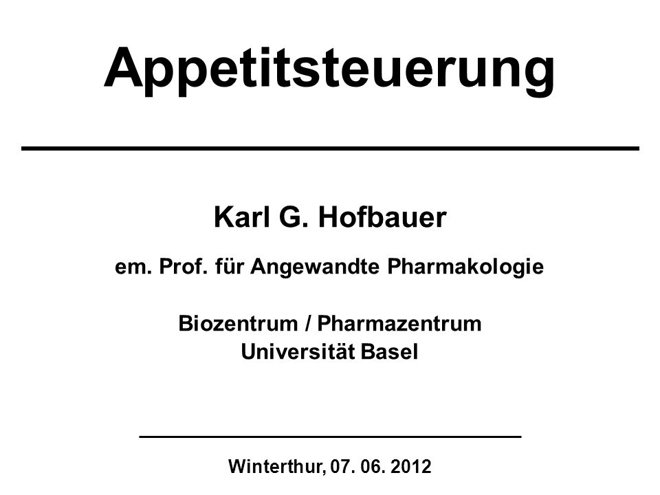 em. Prof. für Angewandte Pharmakologie Biozentrum / Pharmazentrum