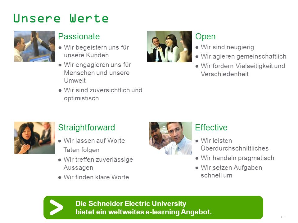 Unsere Werte Passionate Open Straightforward Effective