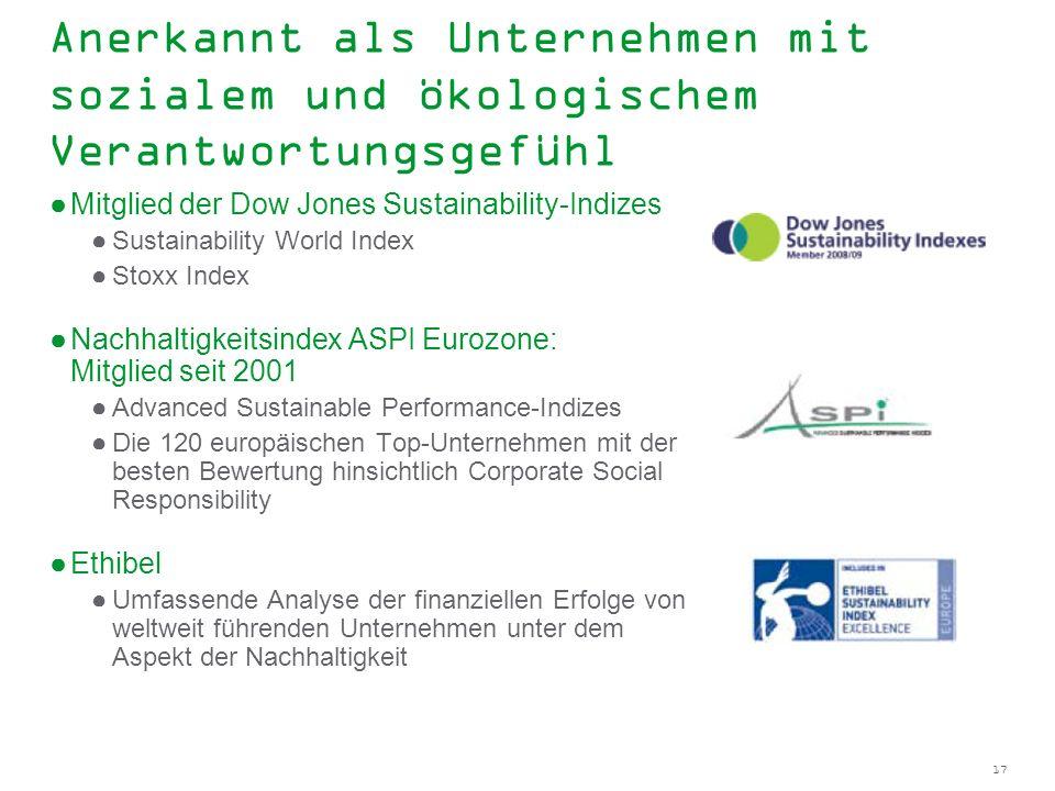 Anerkannt als Unternehmen mit sozialem und ökologischem Verantwortungsgefühl