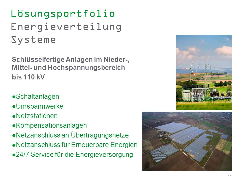 Lösungsportfolio Energieverteilung Systeme
