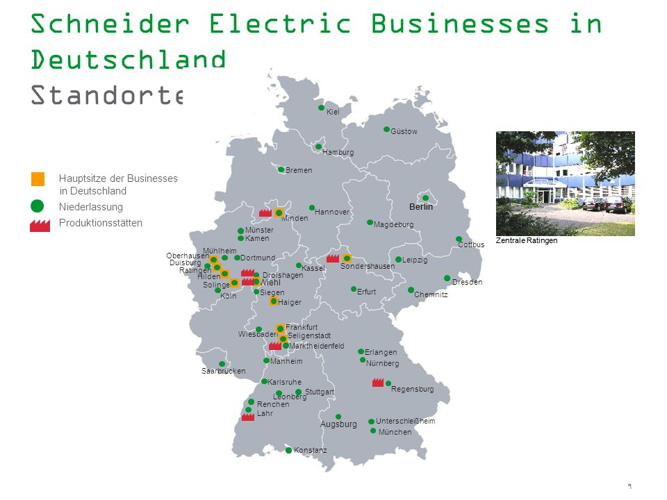 Schneider Electric Businesses in Deutschland Standorte