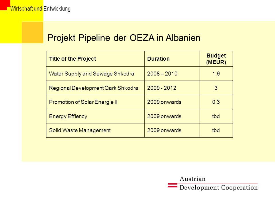 Projekt Pipeline der OEZA in Albanien