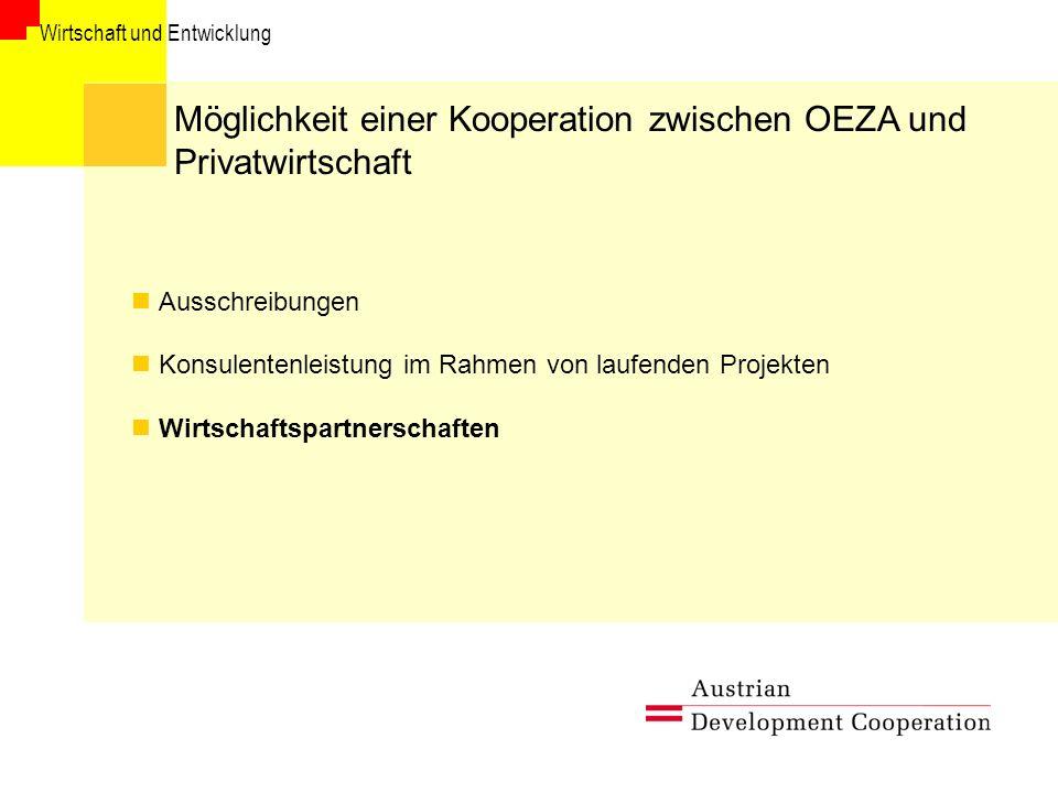 Möglichkeit einer Kooperation zwischen OEZA und Privatwirtschaft