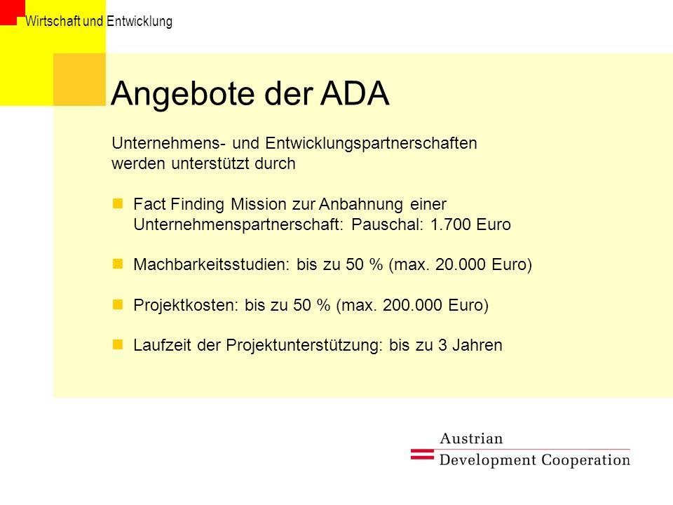 Angebote der ADA Unternehmens- und Entwicklungspartnerschaften