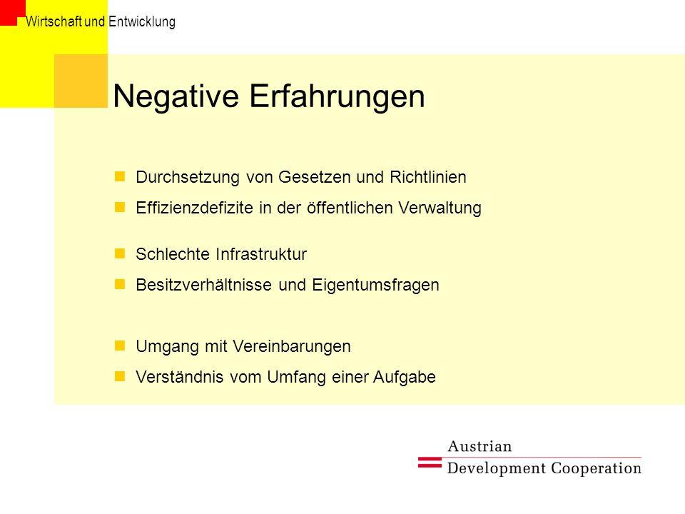 Negative Erfahrungen Durchsetzung von Gesetzen und Richtlinien