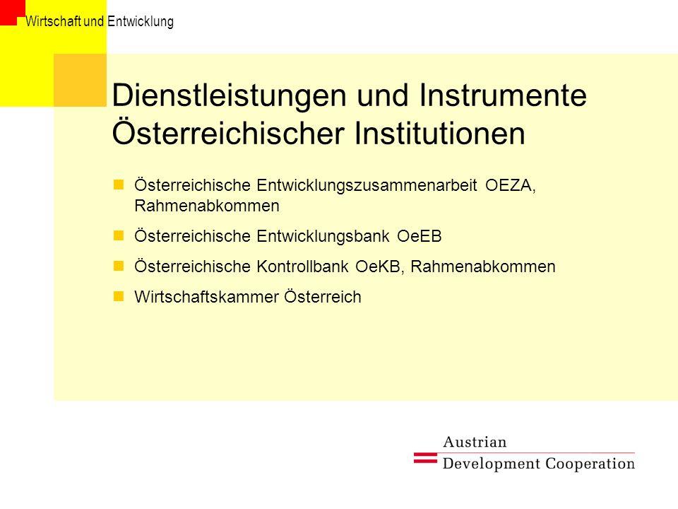 Dienstleistungen und Instrumente Österreichischer Institutionen