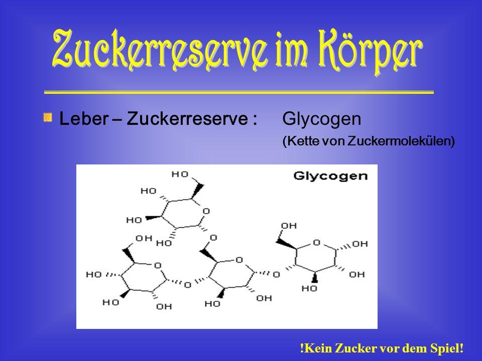 Zuckerreserve im Körper !Kein Zucker vor dem Spiel!