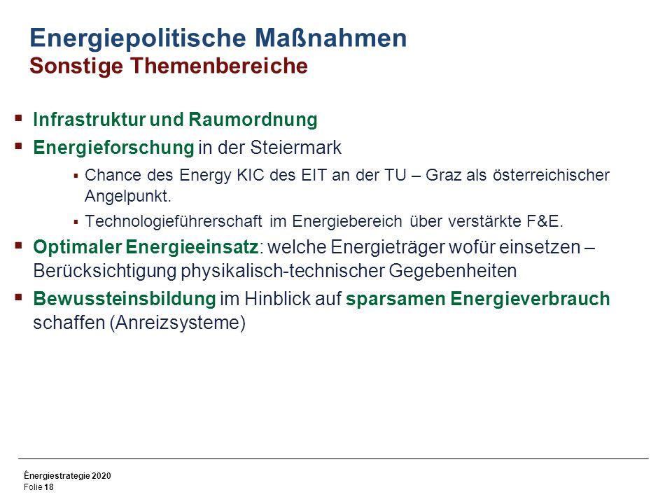 Energiepolitische Maßnahmen Sonstige Themenbereiche