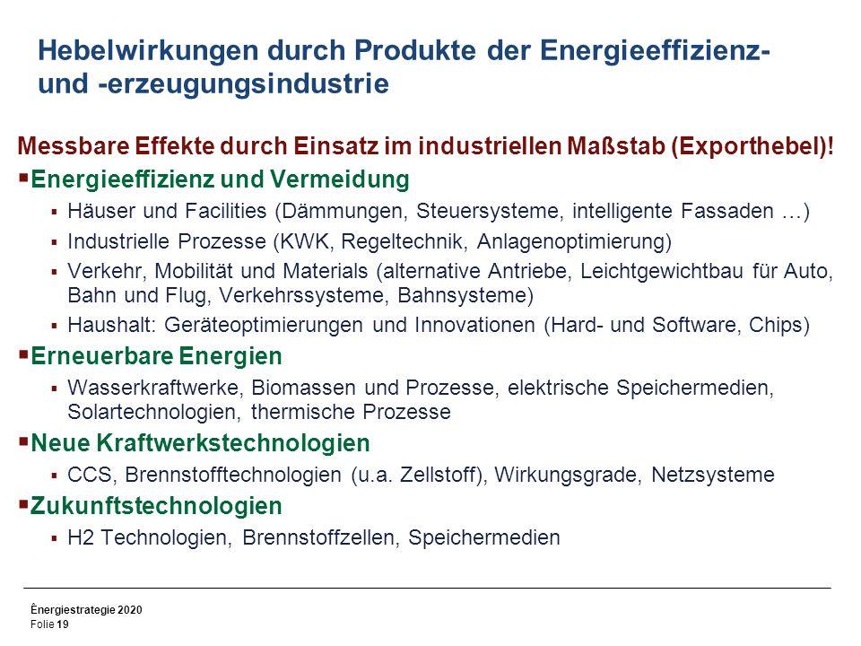Hebelwirkungen durch Produkte der Energieeffizienz- und -erzeugungsindustrie