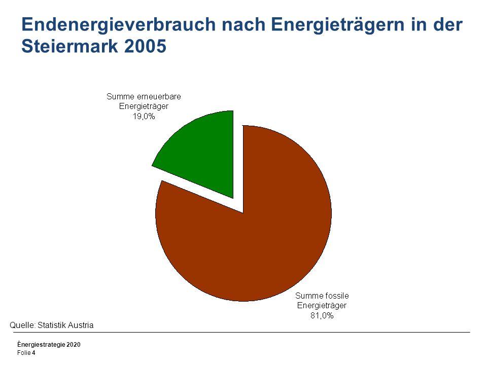 Endenergieverbrauch nach Energieträgern in der Steiermark 2005