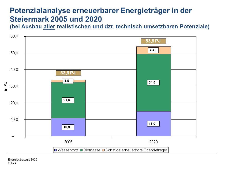 Potenzialanalyse erneuerbarer Energieträger in der Steiermark 2005 und 2020 (bei Ausbau aller realistischen und dzt. technisch umsetzbaren Potenziale)