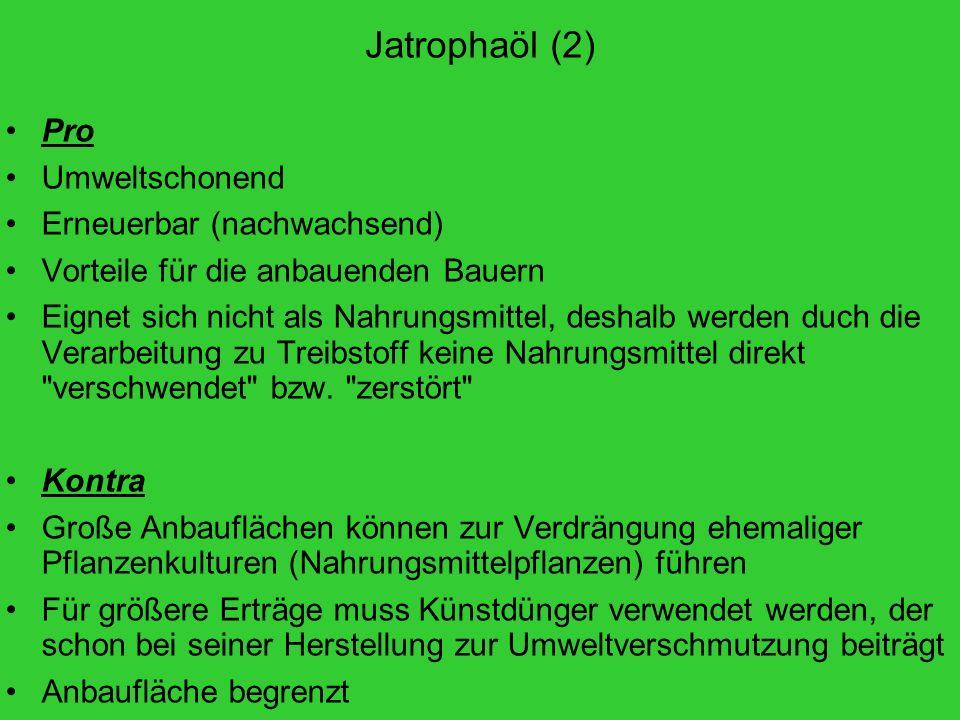 Jatrophaöl (2) Pro Umweltschonend Erneuerbar (nachwachsend)