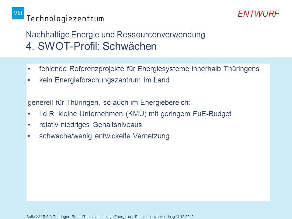 Nachhaltige Energie und Ressourcenverwendung 4. SWOT-Profil: Schwächen