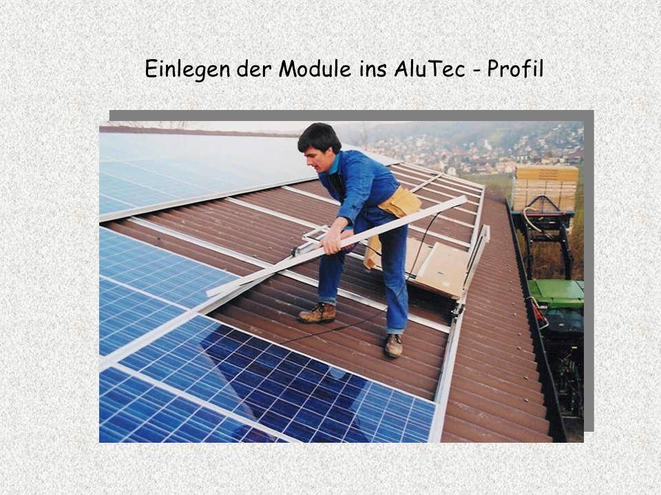 Einlegen der Module ins AluTec - Profil