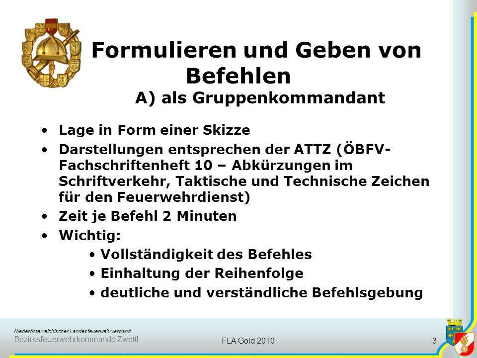 Formulieren und Geben von Befehlen A) als Gruppenkommandant
