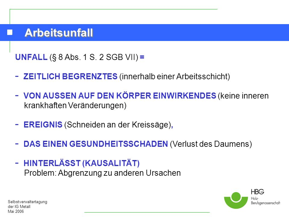 Arbeitsunfall UNFALL (§ 8 Abs. 1 S. 2 SGB VII) =