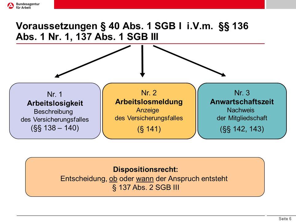 Voraussetzungen § 40 Abs. 1 SGB I i.V.m. §§ 136 Abs. 1 Nr. 1, 137 Abs. 1 SGB III