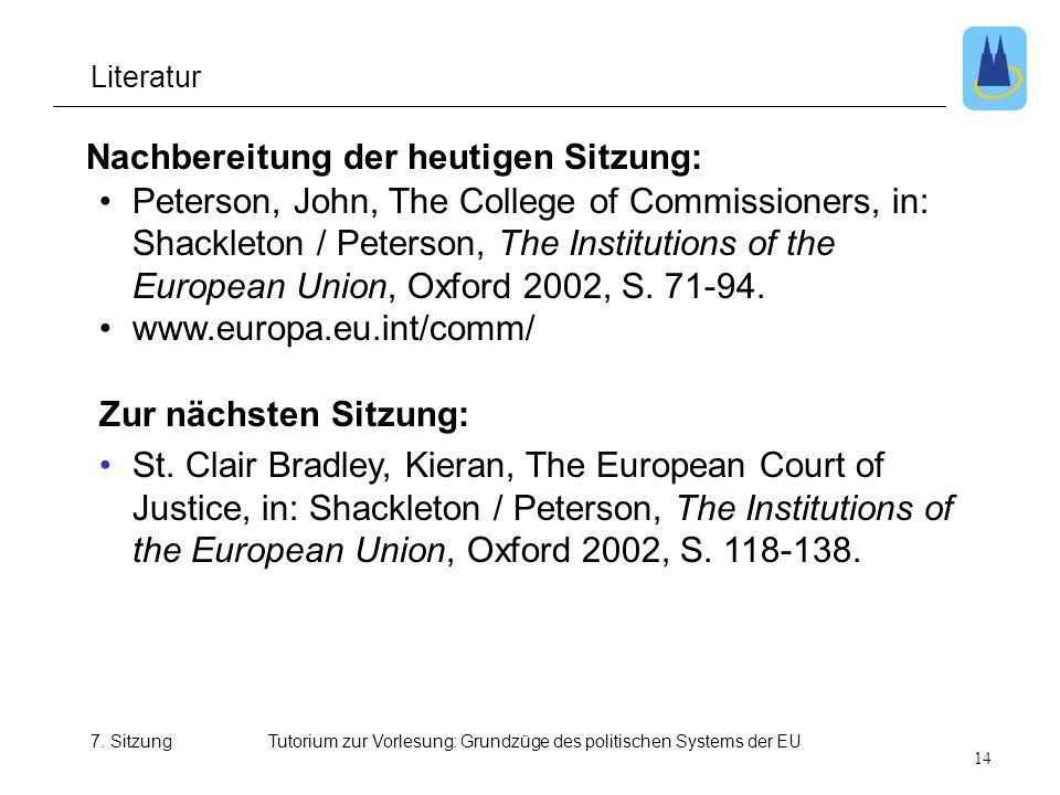 Tutorium zur Vorlesung: Grundzüge des politischen Systems der EU