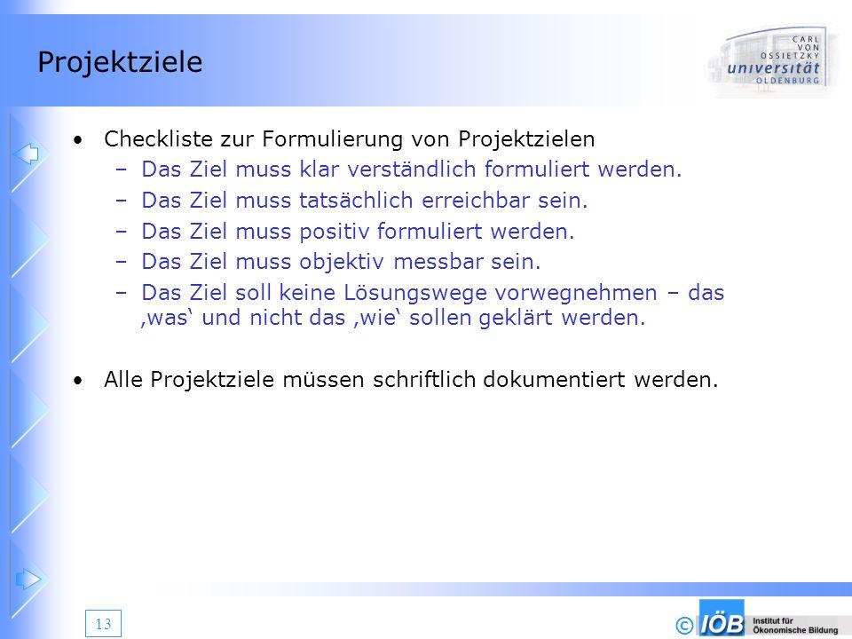 Projektziele Checkliste zur Formulierung von Projektzielen