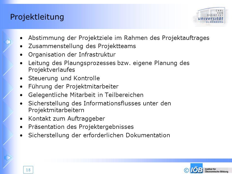 Projektleitung Abstimmung der Projektziele im Rahmen des Projektauftrages. Zusammenstellung des Projektteams.