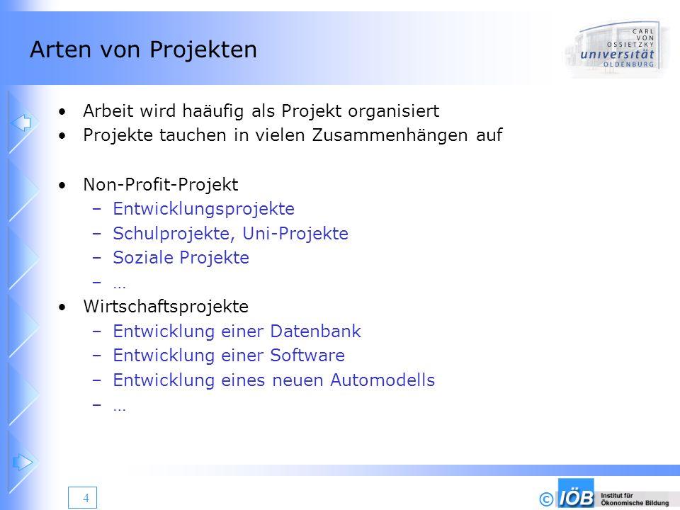 Arten von Projekten Arbeit wird haäufig als Projekt organisiert