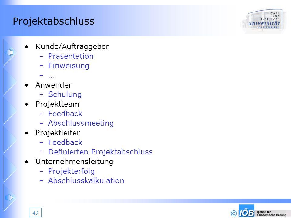 Projektabschluss Kunde/Auftraggeber Präsentation Einweisung … Anwender