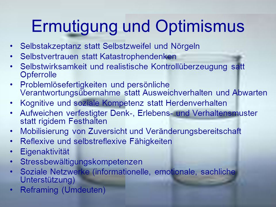 Ermutigung und Optimismus