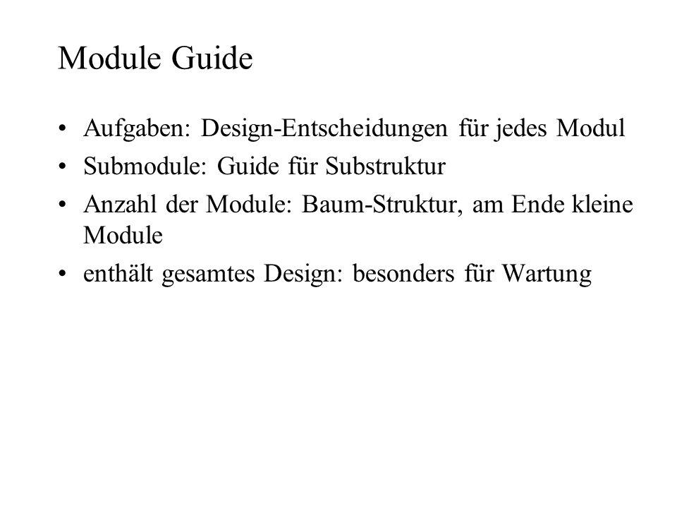 Module Guide Aufgaben: Design-Entscheidungen für jedes Modul
