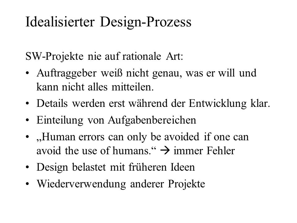 Idealisierter Design-Prozess