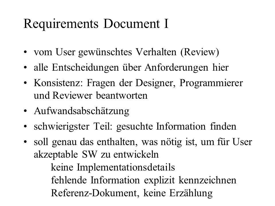 Requirements Document I