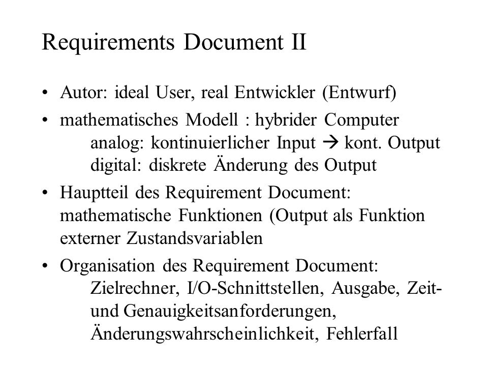 Requirements Document II