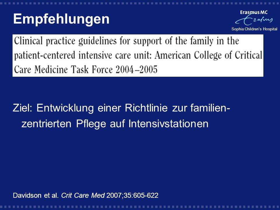 Empfehlungen Ziel: Entwicklung einer Richtlinie zur familien-zentrierten Pflege auf Intensivstationen.