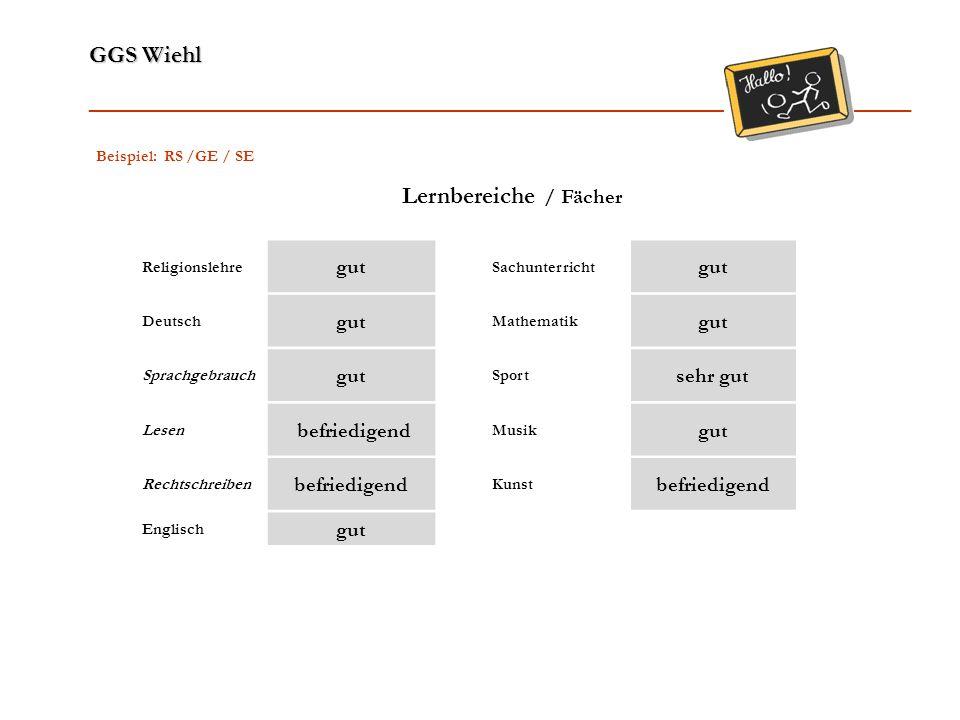 Lernbereiche / Fächer gut sehr gut befriedigend Beispiel: RS /GE / SE